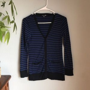 Forever 21 blue and black striped cardigan